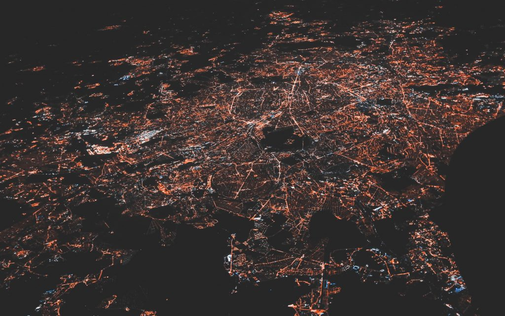 electricity in the city from above power grid